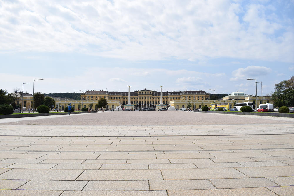 In front of the entrance at Schönbrunn Palace.