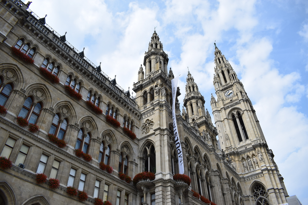 Rathaus Vienna at an angle preventing the view of the film festival setup.