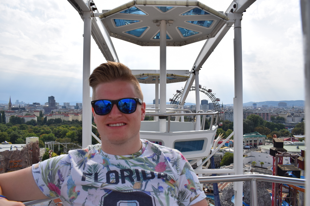 Enjoying the views from the top of the ferris wheel at Prater.