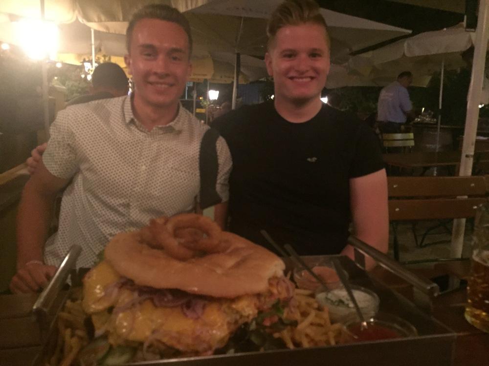 Tom Haygarth (left) and Tom Woods (right) vs Big Mama Burger (centre)
