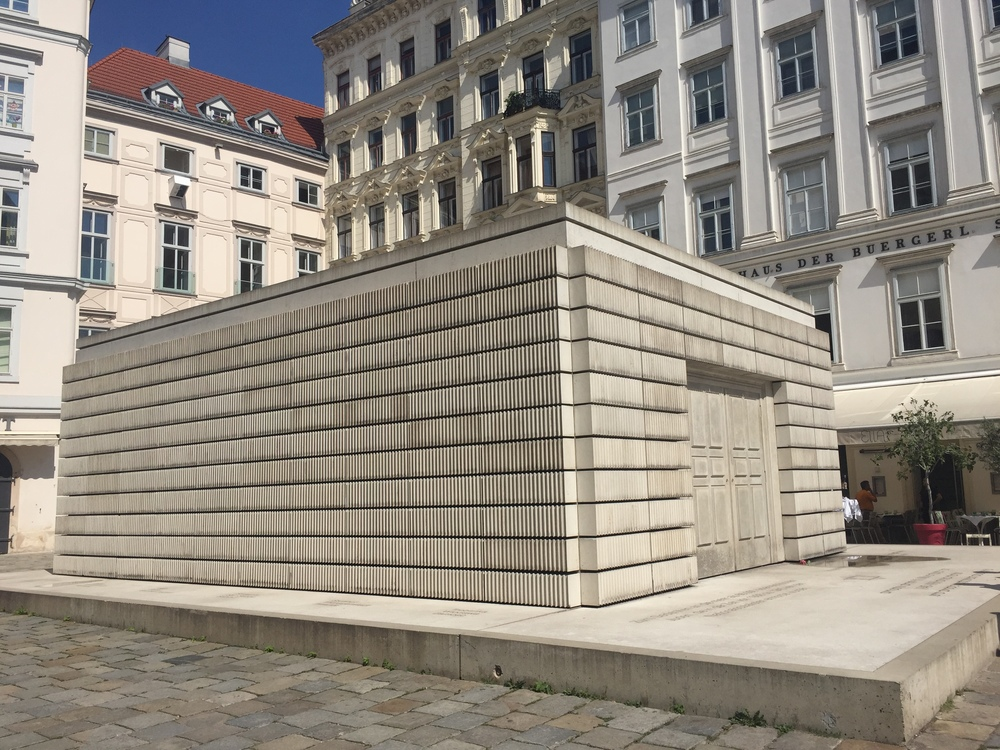 Judenplatz Holocaust Memorial in the Vienna sunshine.