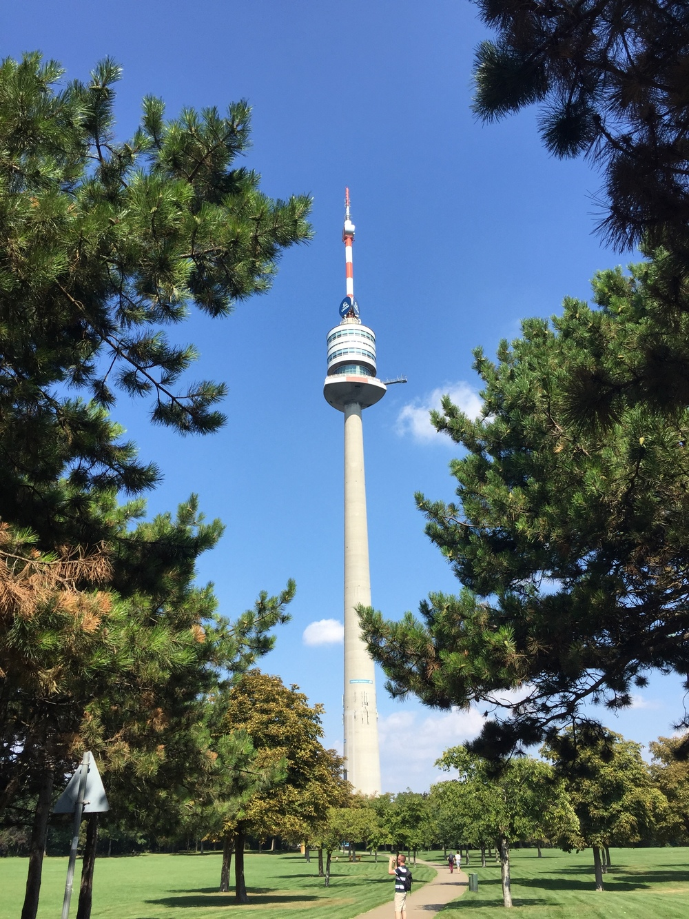 A clearer view of the Danube Tower from Donauturm Park.