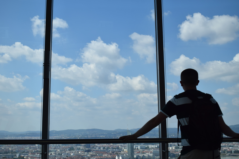 Another one of the Toms enjoying the view from the Donauturm observation deck.