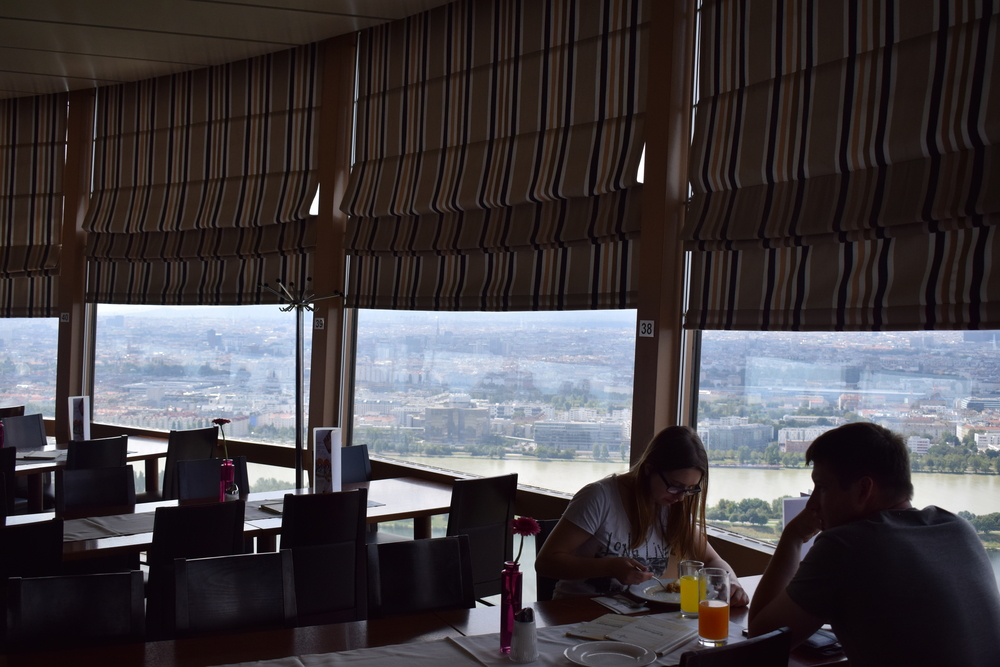 Food and drink can be enjoyed with a spectacular view at the Donauturm café.