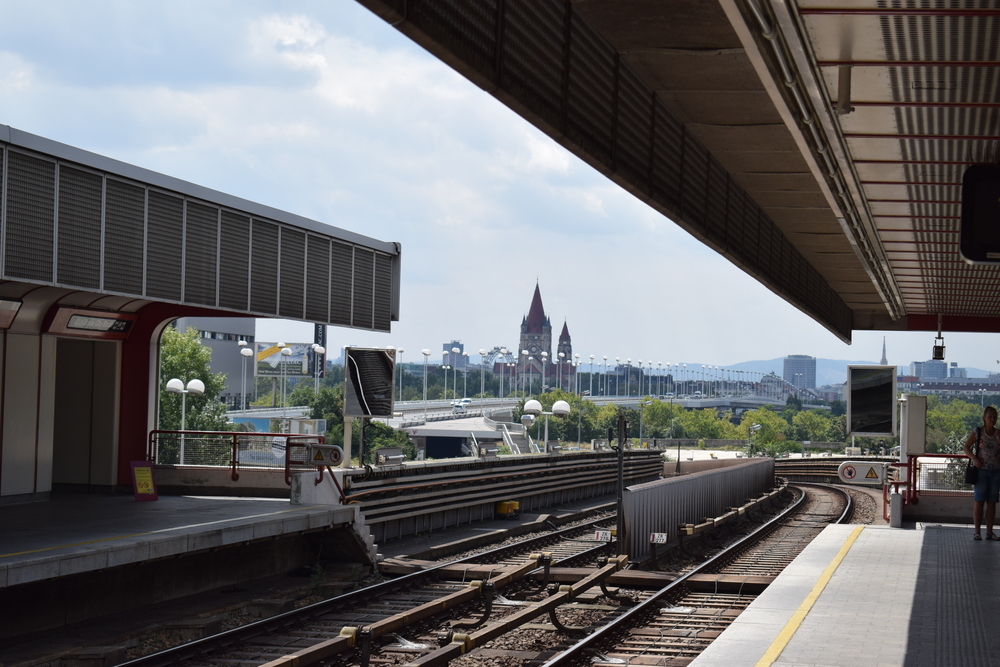 Waiting at the station to head back towards the city centre.