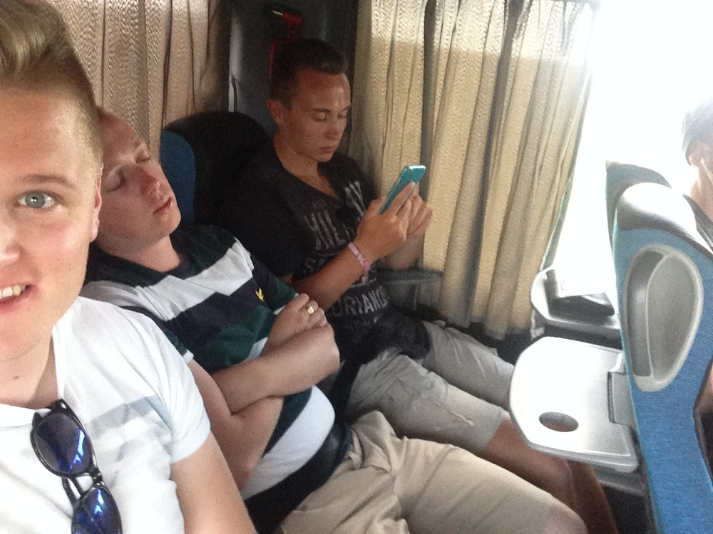 On the coach to Prague.