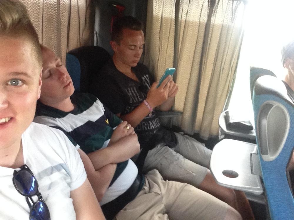 On the coach to Prague.