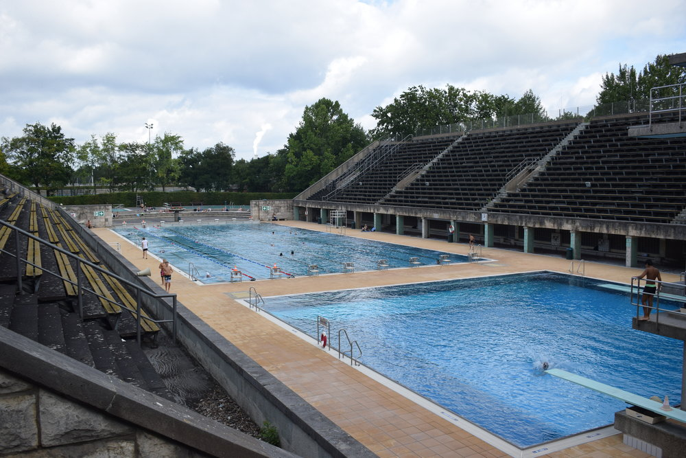 The pool is open for swimming from July to September.