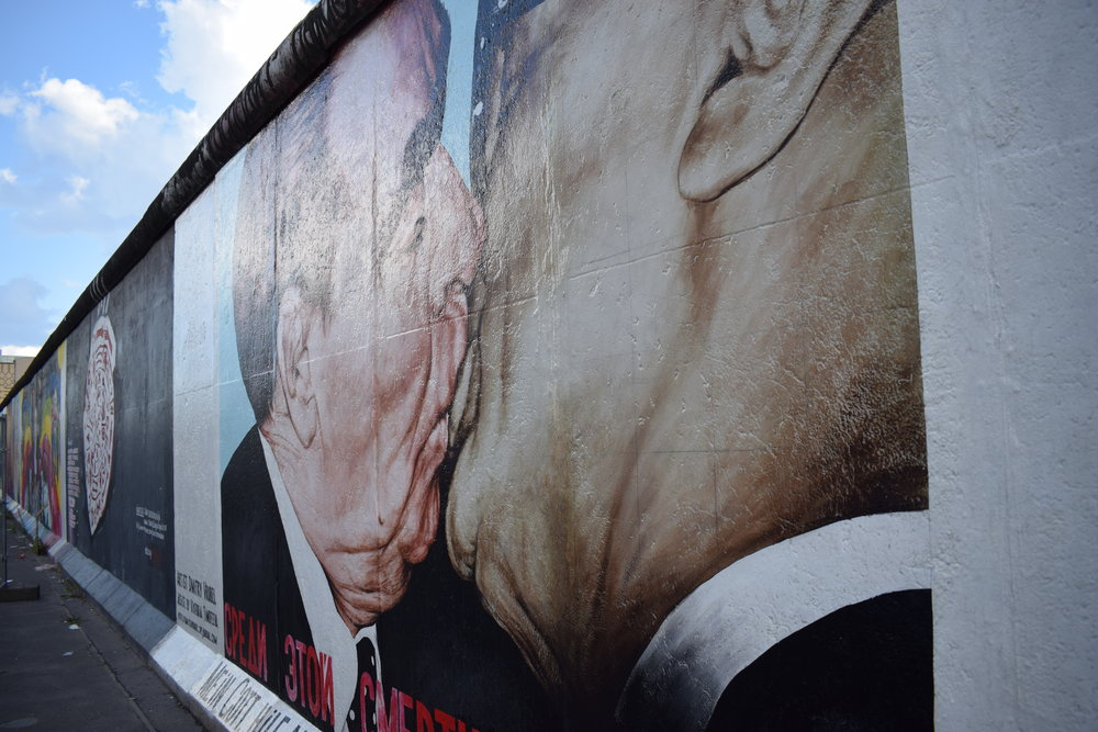 One of the wall's most iconic murals, depicting Leonid Brezhnev and Erich Honecker kissing.