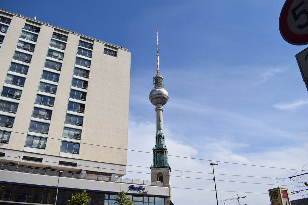 The Fernsehturm is a towering presence across the city.