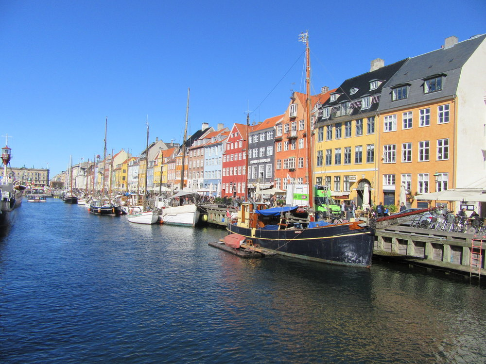 The colourful fa çades of Nyhavn - a major tourist attraction (and tourist trap) in Copenhagen.