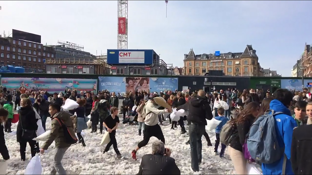 Mid-pillow fight in Copenhagen.