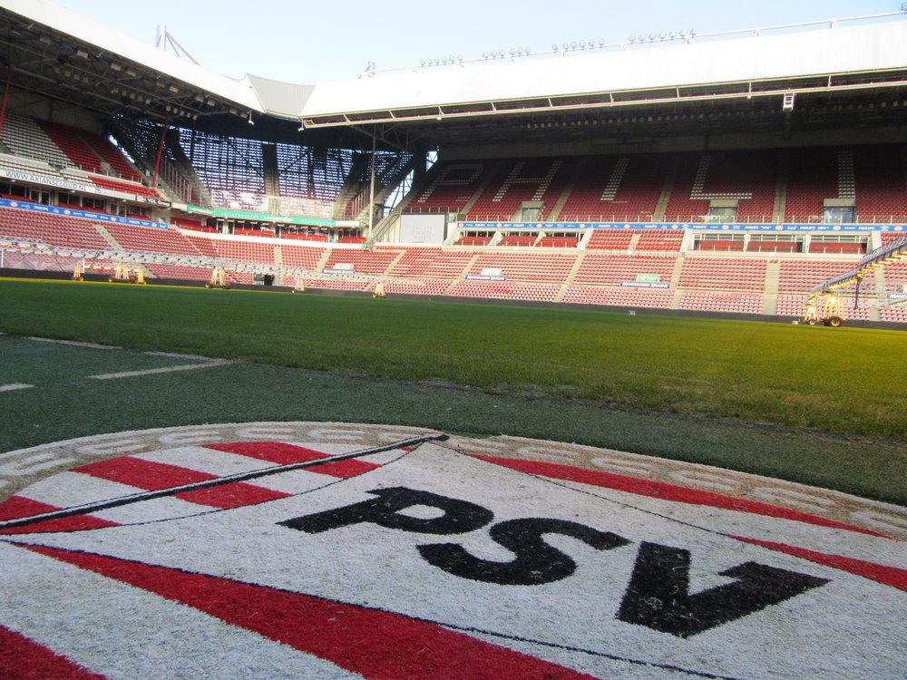 Pitchside at Philips Stadion - home of Champions League side PSV Eindhoven.