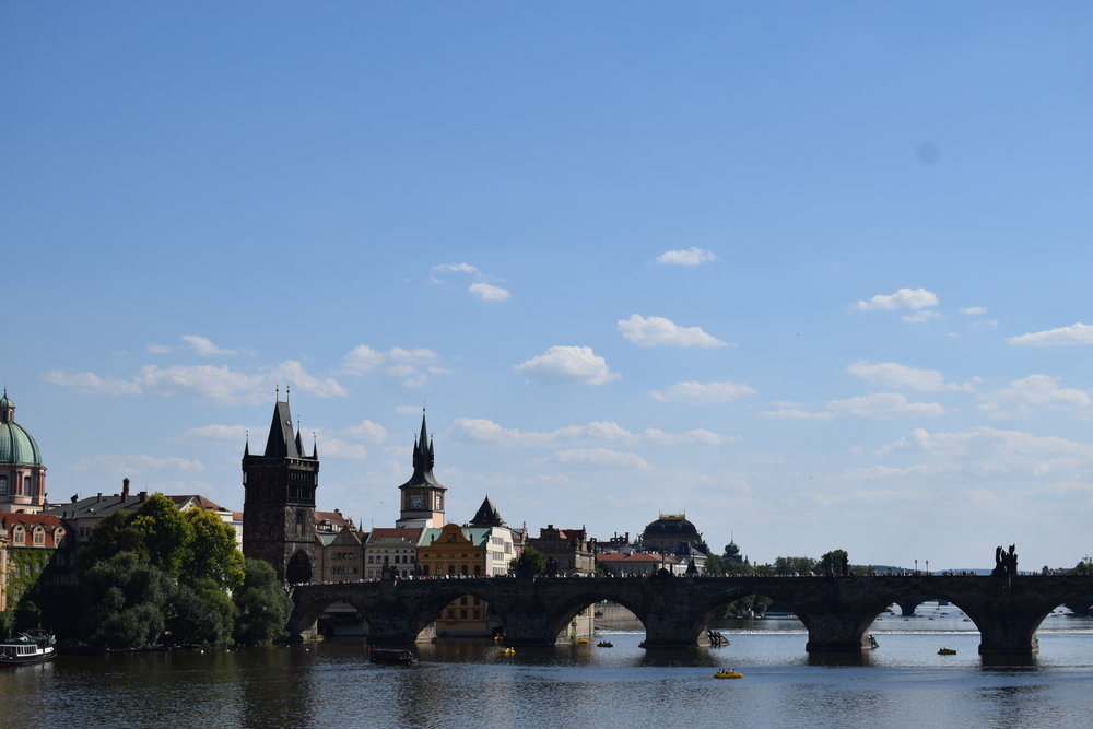 Looking back at Charles Bridge across the Vltava.
