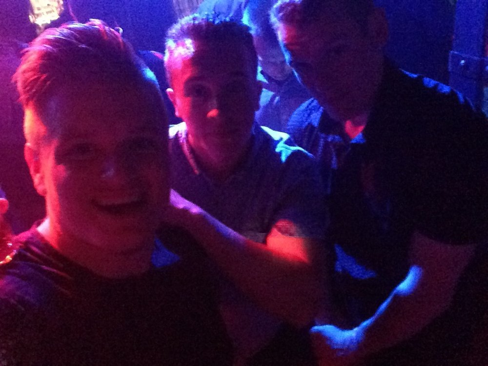 Living it up in Roxy with the lads.
