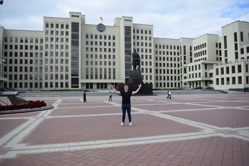 Posing for a photo in Minsk's Independence Square a few weeks ago.