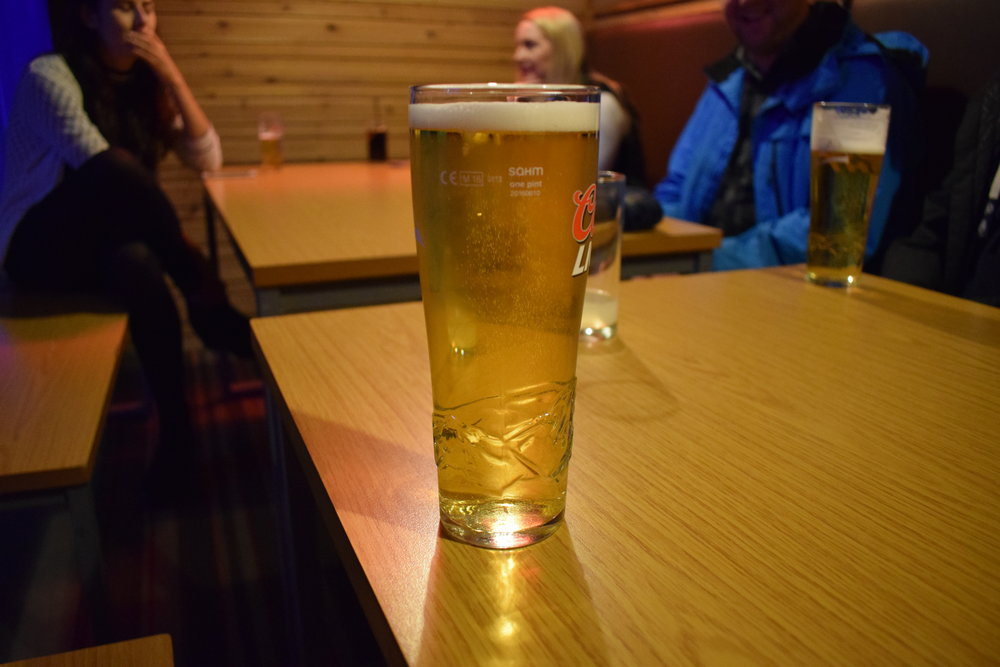 A pre-ski pint. I'm not sure whether that was a good idea or not.
