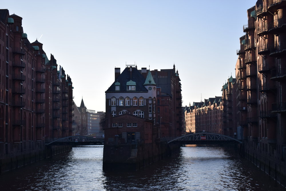 A stunning view from one of the bridges along the Speicherstadt.