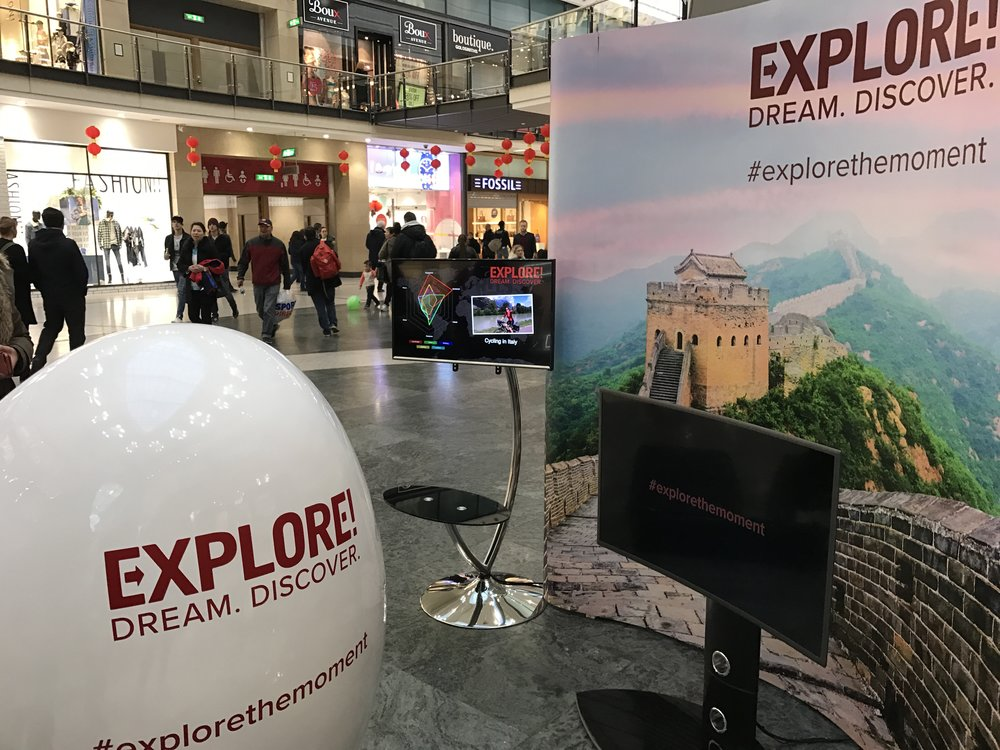 Explore's setup at Manchester's Arndale shopping centre.