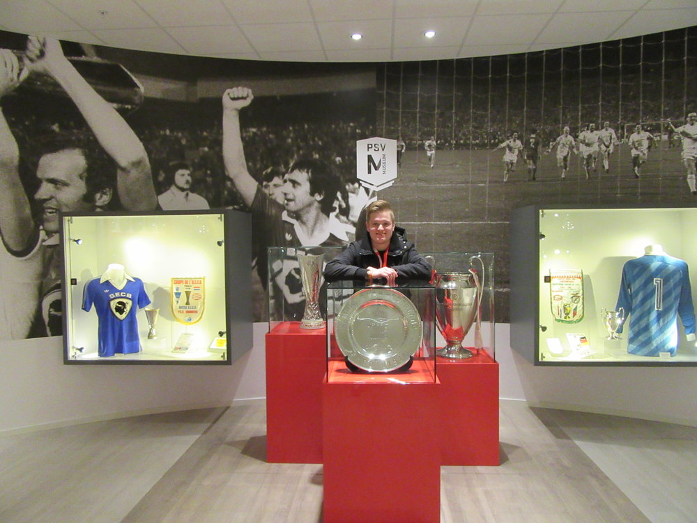 Hanging out in PSV Eindhoven's trophy room.