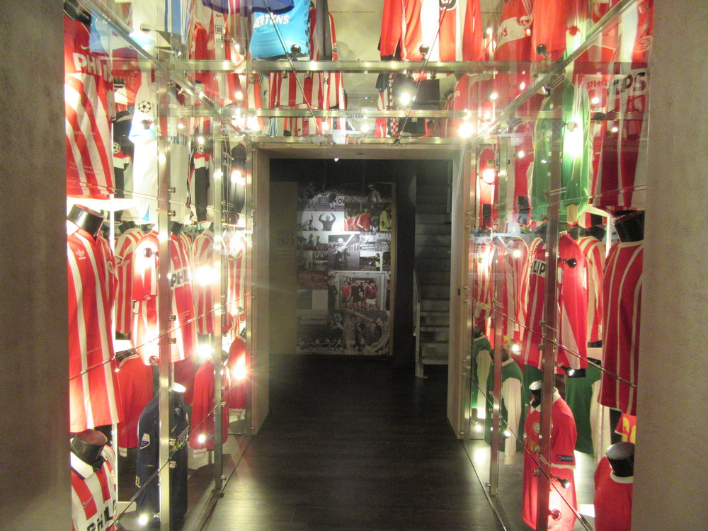 A collection of PSV shirts at the club museum.