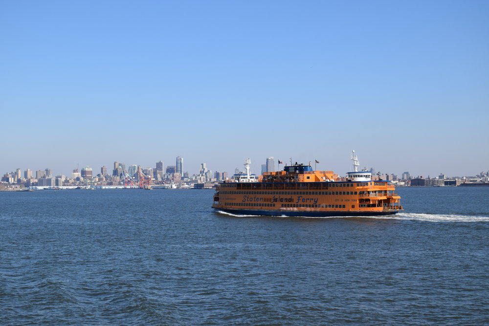 One of the Staten Island Ferries mid-sail.