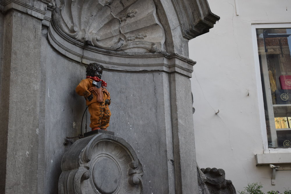 "Mannekin Pis translates into English as ""Little man pee."""