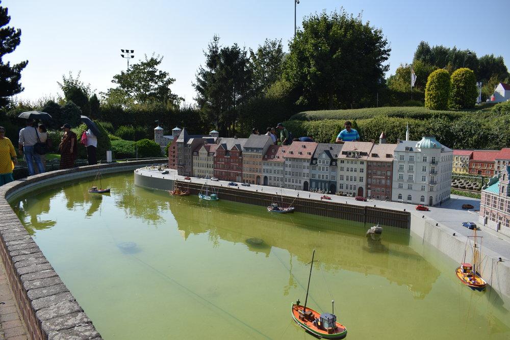 Mini-Europe's recreation of Nyhavn in Copenhagen, Denmark.