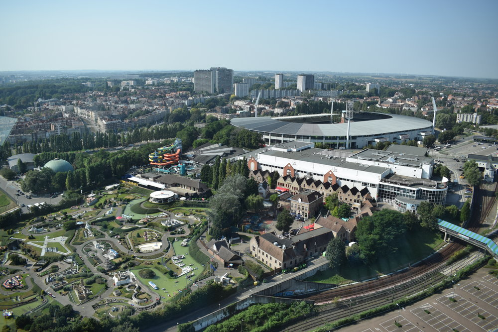 An aerial view of Mini-Europe from the Atomium, with King Baudouin Stadium - home of Belgium's national football team - in the background.