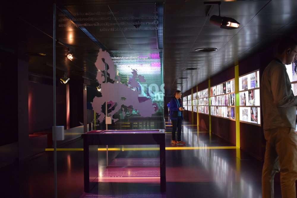 One of the exhibitions at the Parlamentarium - a walk-through timeline of EU history.