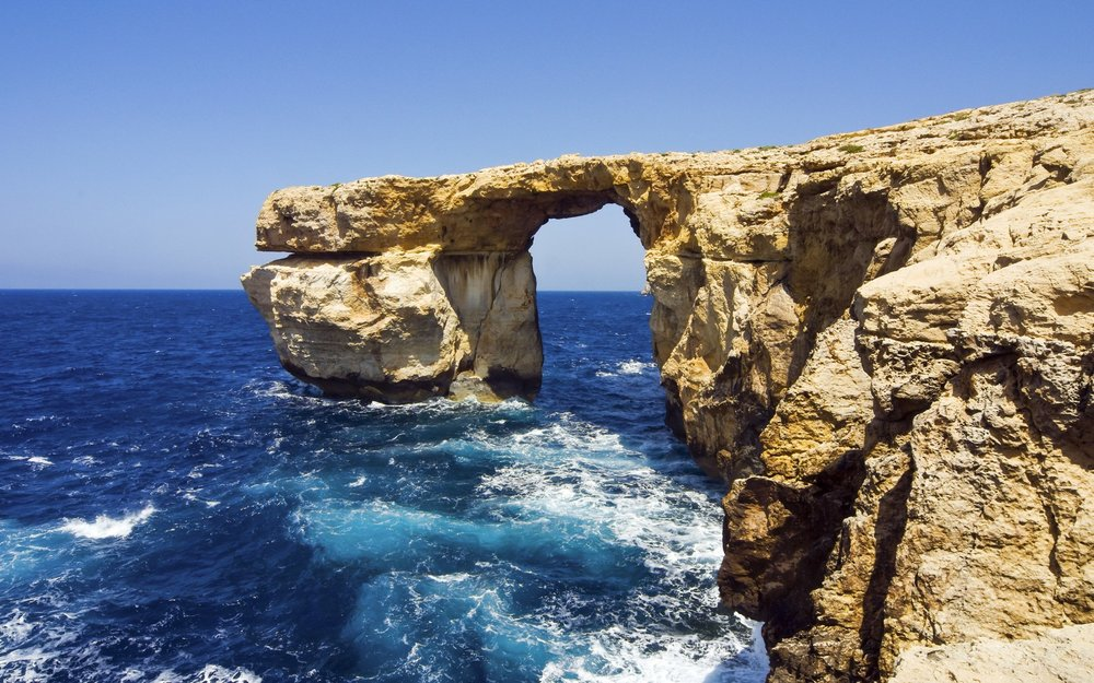 The Azure Window on the Maltese island of Gozo before it collapsed on Wednesday.