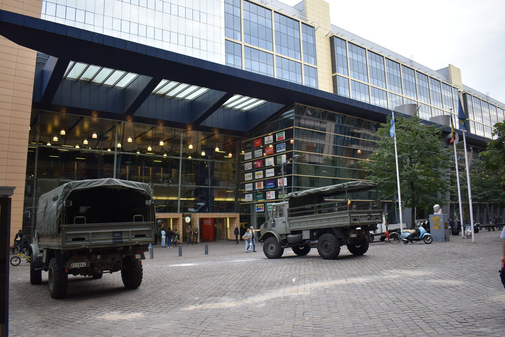 Military vehicles, like these ones pictured outside Brussels-North station, have been seen outside Constant Vanden Stock Stadion this season.