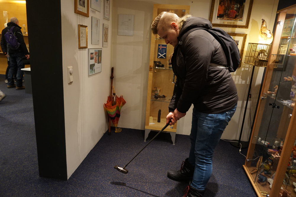 Masterfully using the penis putter.