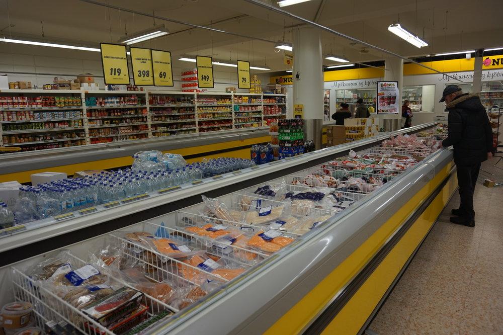 Inside the Bonus supermarket on Laugavegur - one of Reykjavik's main shopping streets.
