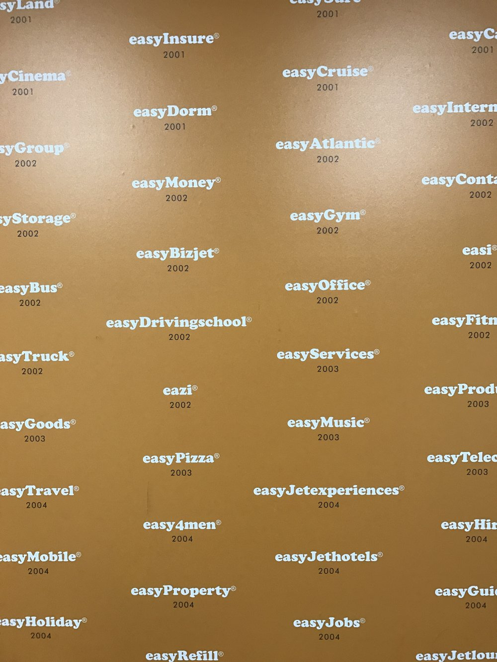 The wall of easy companies.