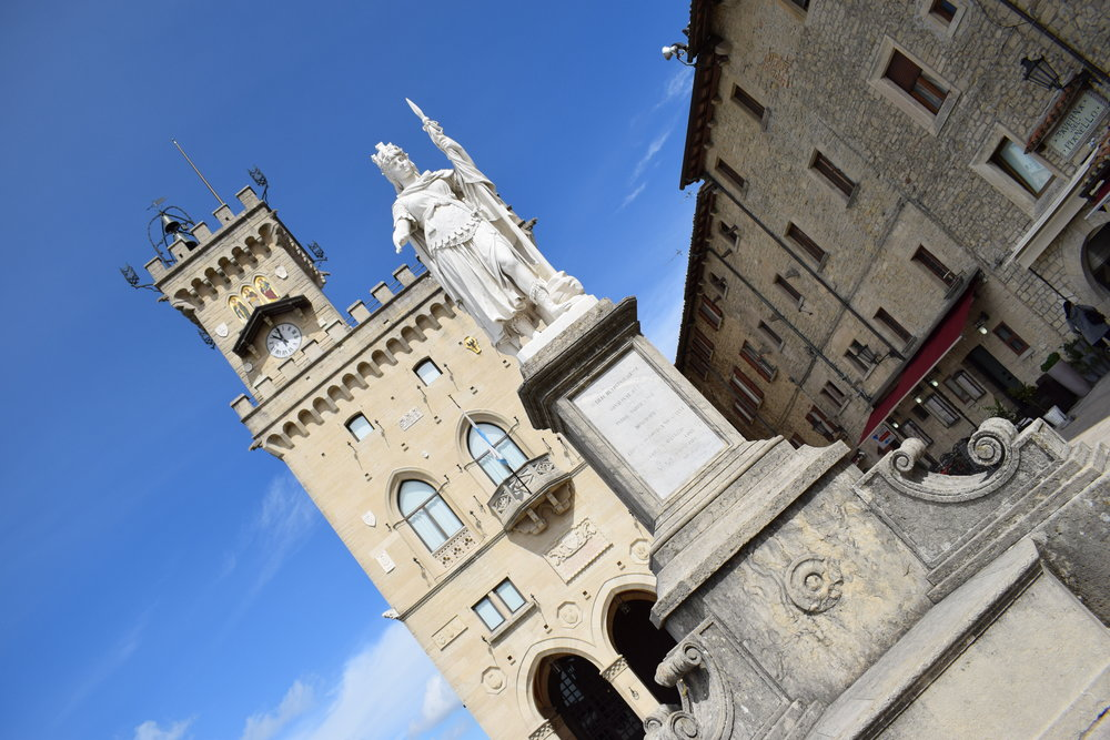 Liberty Square in the City of San Marino, with the Palazzo Pubblico (People's Palace) in the background.