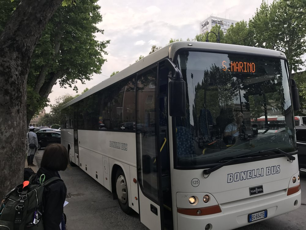 The San Marino-bound bus at the stop in Rimini.