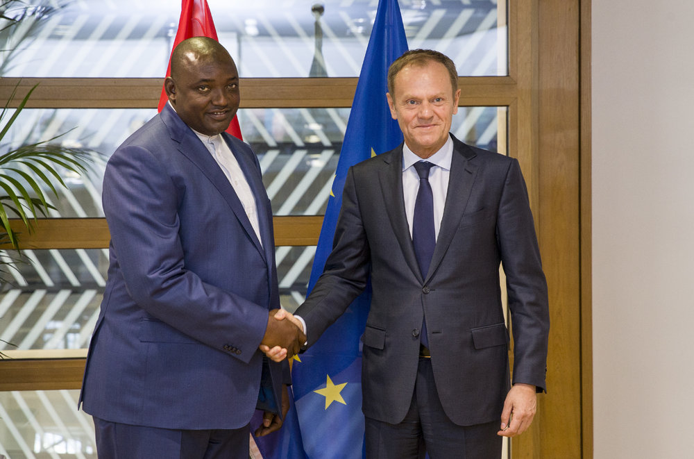 Gambian president Adama Barrow meets President of the European Council, Donald Tusk. Image credit: EuropeanCouncilPresident/Flickr