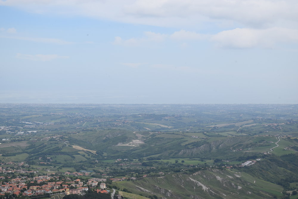 Looking out over San Marino and towards Italy from Mount Titano.