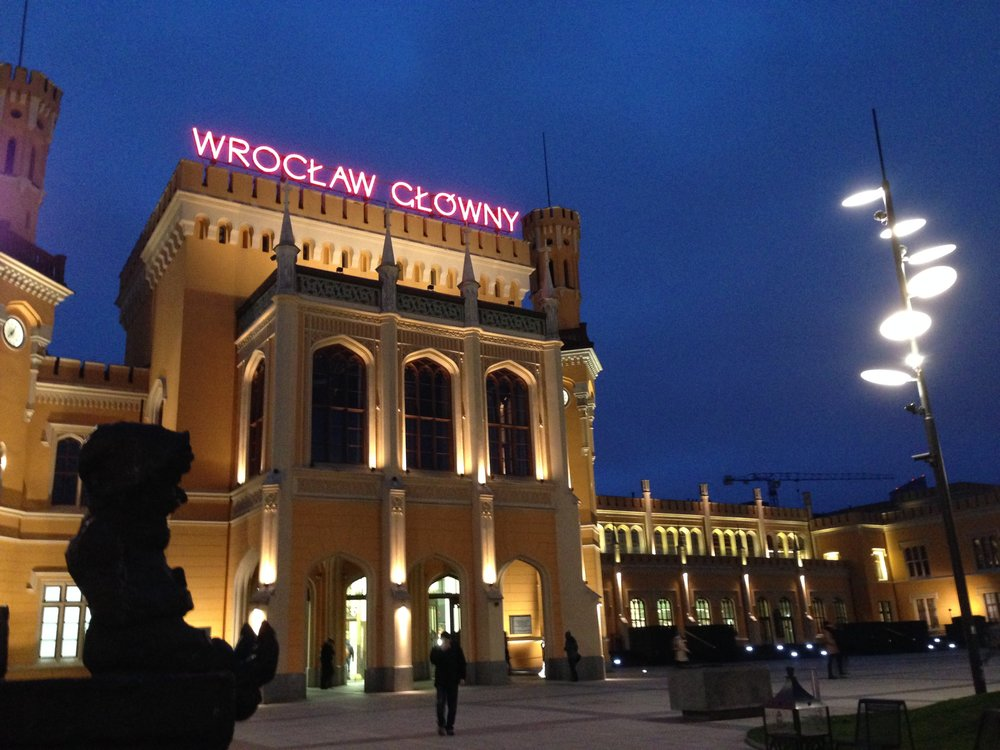 The bus from the airport dropped us off across the street from Wrocław Głowny - the main train station.