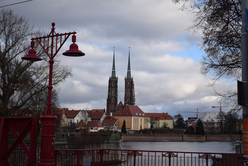 Cathedral of St John the Baptist from across the River Oder.