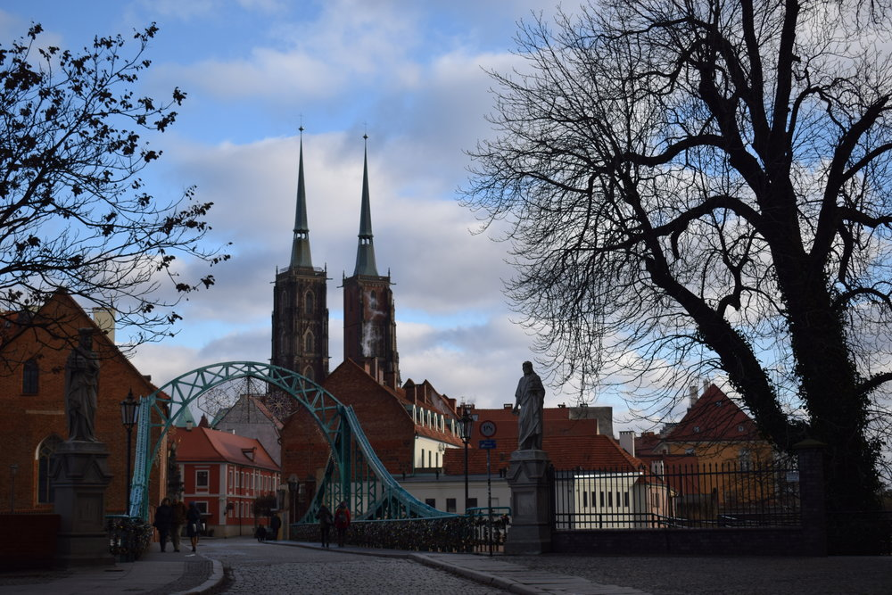The two spires of St John the Baptist rise high over Wrocław.