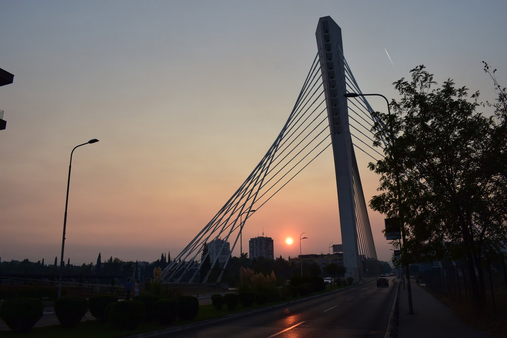 Watching the sunset across Podgorica's Millennium Bridge.