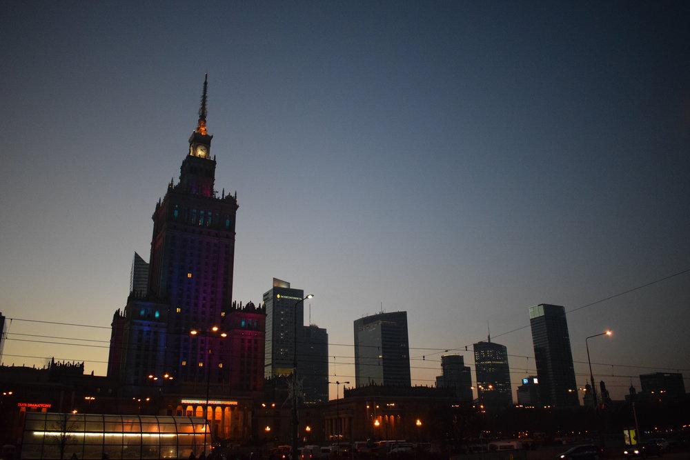 Palace-Culture-Science-Warsaw-Poland-Illuminated