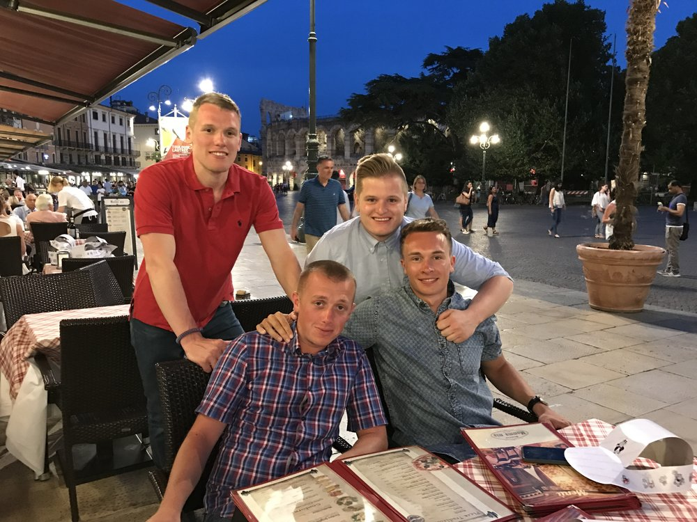 Having a great time with the lads in Verona, Italy.