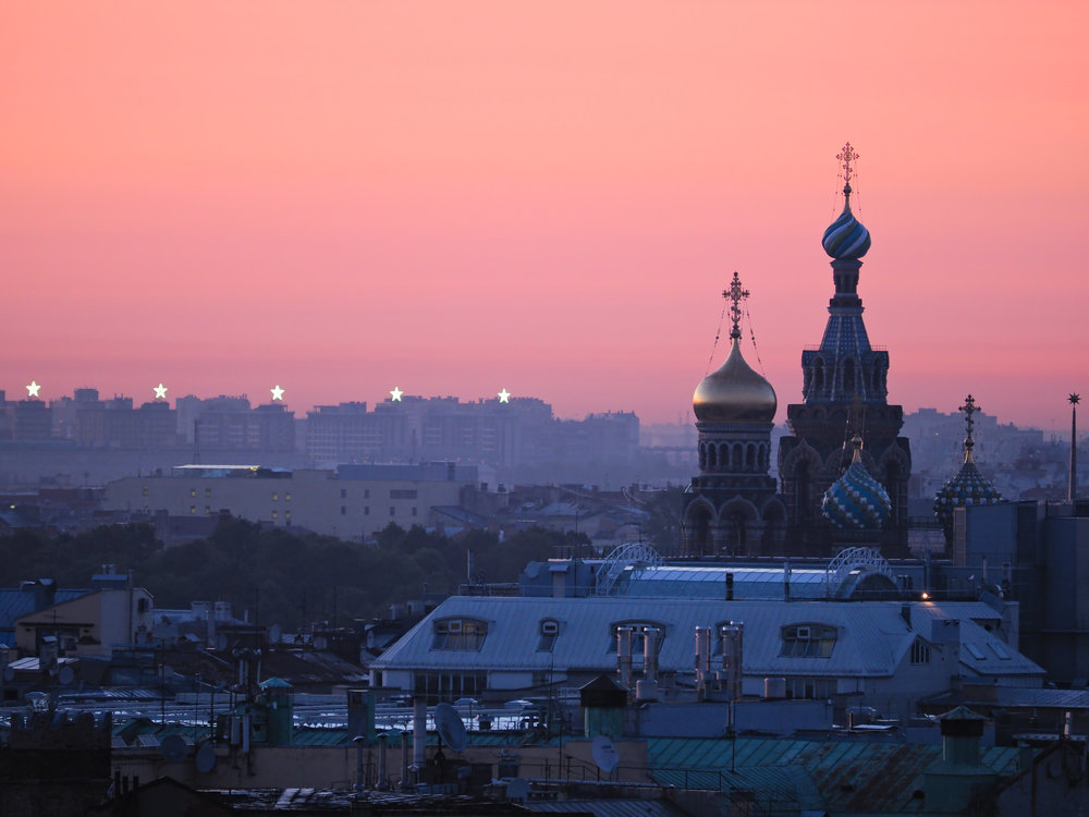 The Church of the Saviour on Blood set against a beautiful Saint Petersburg sunset.