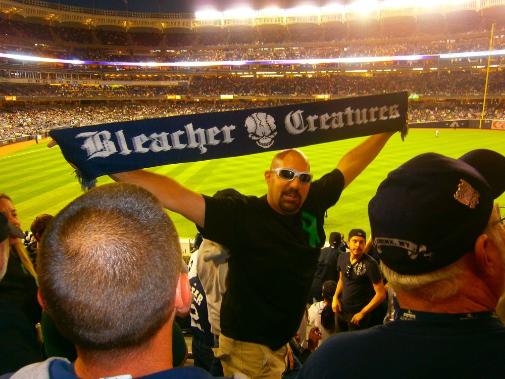 Bald Vinny of the Bleacher Creatures - the New York Yankees' famous supporters group.