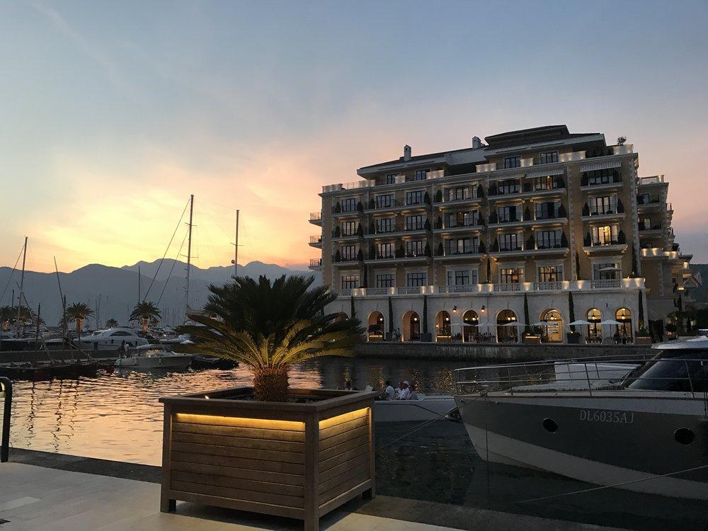 Looking across the harbour towards The Regent at Porto Montenegro.