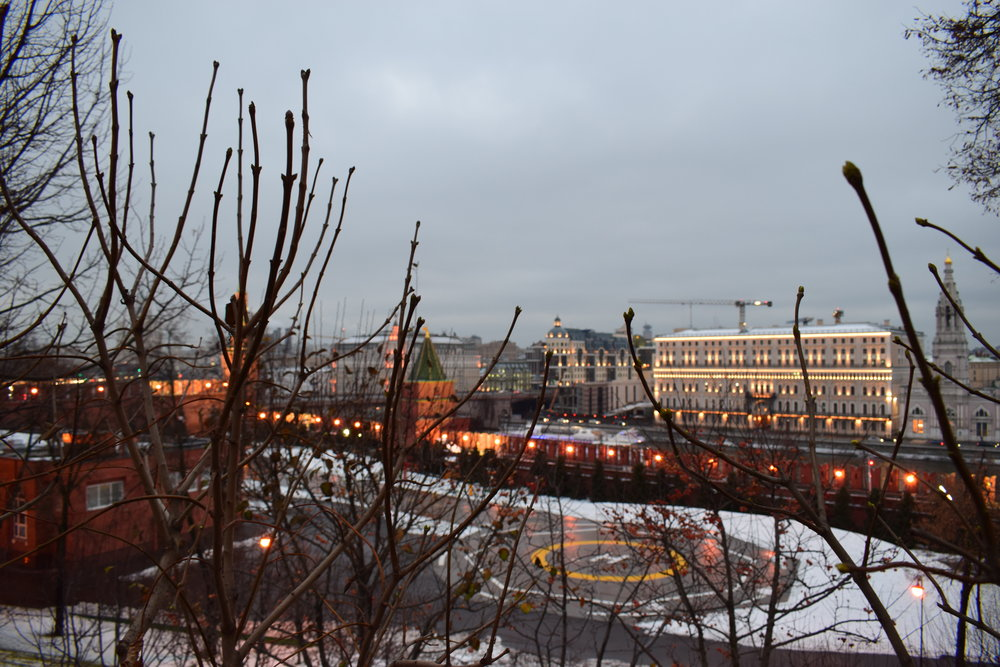 Looking out towards the Kremlin's helipad in Moscow.