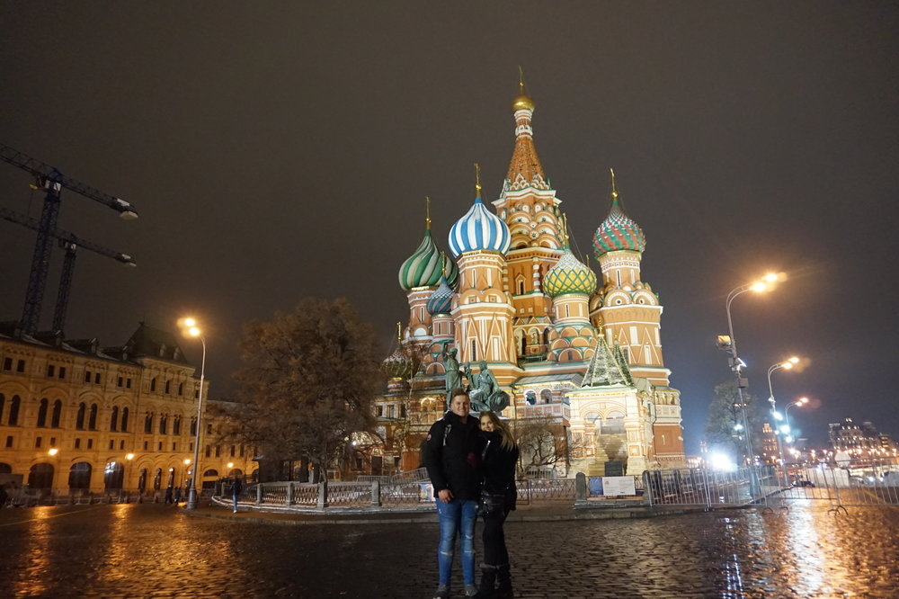 One of my favourite travel photos. Me and my girlfriend in front of Saint Basil's Cathedral.